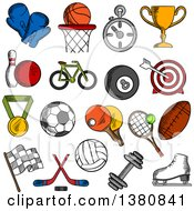 Poster, Art Print Of Sketched Sport And Fitness Icons With Sport Balls And Items Trophy Cup And Bicycle Racing Flag And Ice Skate Boxing Glove And Stopwatch Dumbbell And Medal