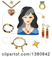 Clipart Of A Sketched Woman Surrounded By Fashion Gold With Gemstones Precious Accessories Chain With Heart Pendant Diamond Ring And Long Earrings Bracelets And Shining Stars Royalty Free Vector Illustration by Vector Tradition SM