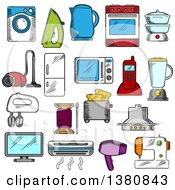 Clipart Of Sketched Appliances Icons With Microwave And Vacuum Iron And Refrigerator Toaster And Tv Set Washing And Sewing Machines Blender And Mixer Fan And Stove Kettle And Air Conditioner Telephone And Steamer Royalty Free Vector Illustratio