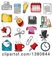 Clipart Of Sketched Business And Office Supplies Icons With Light Bulb And Phone Calendar And Calculator Mouse And E Mail Folders Documents And Clock Coffee Cup And Chair Shredder And Scissors Pin And Clip Royalty Free Vector Illustration