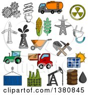 Clipart Of Sketched Industry And Energy Icons With Oil Pump And Barrel Refinery Factory And Tractor Corn And Wheat Radiation Solar Panel Gears Fuel And Light Bulb Shovel And Wind Turbine Electricity Plant Royalty Free Vector Illustration