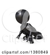 Clipart Of A 3d Black Man Runner On Starting Blocks On A White Background Royalty Free Illustration by KJ Pargeter