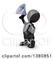 Clipart Of A 3d Black Man Using A Megaphone On A White Background Royalty Free Illustration