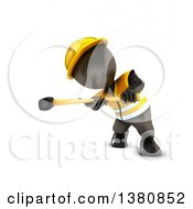 Clipart Of A 3d Black Man Construction Worker Swinging A Sledgehammer On A White Background Royalty Free Illustration by KJ Pargeter
