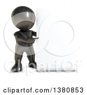 Clipart Of A 3d Black Man Pointing To A Blank Sign On A White Background Royalty Free Illustration by KJ Pargeter