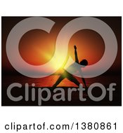 Clipart Of A Fit Silhouetted Woman Doing Yoga Against A Deep Red And Orange Sunset With An Ocean View Royalty Free Illustration by KJ Pargeter