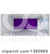 Clipart Of A 3d Empty Room Interior With Floor To Ceiling Windows White Flooring And A Purple Feature Wall Royalty Free Illustration