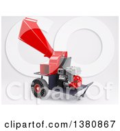 Clipart Of A 3d Red Garden Shredder Machine On Shaded White Royalty Free Illustration