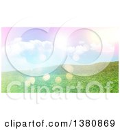 3d Grassy Hill With Retro Flares