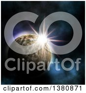 Clipart Of A 3d Sun Rising Behind A Fictional Planet Royalty Free Illustration