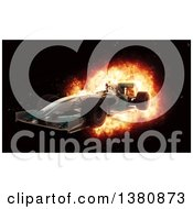 Clipart Of A 3d F1 Race Car With Speed Fiery Effect Royalty Free Illustration