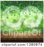 Clipart Of A 3d Wooden Table With Green Vines Light And Bokeh Flares Royalty Free Illustration by KJ Pargeter