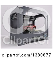 Clipart Of A 3d Printer Creating A Car On A White Background Royalty Free Illustration