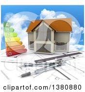 Clipart Of A 3d Custom Home With An Energy Chart And Drafting Tools Over Blueprints And Sky Royalty Free Illustration
