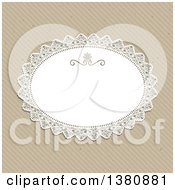 Clipart Of A Lacy Oval Frame Over A Diagonal Stripe Paper Background Royalty Free Vector Illustration