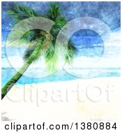 Clipart Of A Watercolor Painted Tropical Beach With White Sands And A Leaning Palm Tree Royalty Free Vector Illustration