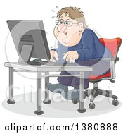Clipart Of A Chubby Caucasian Man Looking Excited And Sitting At A Computer Desk Royalty Free Vector Illustration