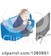 Clipart Of A Chubby Caucasian Man Getting Excited While Watching Tv Royalty Free Vector Illustration