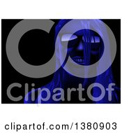 Clipart Of A Woman Wearing Sunglasses In Blue Lighting On Black Royalty Free Vector Illustration