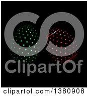 Clipart Of 3d LED Illuminated Polka Dot Easter Eggs On Black Royalty Free Vector Illustration by elaineitalia