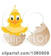 Clipart Of A Happy Yellow Easter Check Hatching From An Egg Royalty Free Vector Illustration