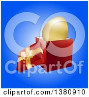 Clipart Of A 3d Golden Easter Egg In An Open Gift Box Over Blue Royalty Free Vector Illustration