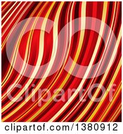 Clipart Of A Background Of Warped Black Red And Gold 3d Stripes Royalty Free Vector Illustration