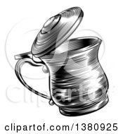 Clipart Of A Black And White Retro Woodcut Beer Stein Royalty Free Vector Illustration by AtStockIllustration