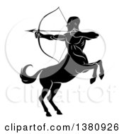 Clipart Of A Black And White Centaur Archer Half Man Half Horse Rearing And Aiming To The Left Royalty Free Vector Illustration by AtStockIllustration
