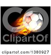 Clipart Of A 3d Flaming Soccer Ball Flying Over Black Royalty Free Vector Illustration