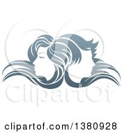 Clipart Of Male And Female Faces Back To Back In Profile With Long Hair Waving In The Wind Royalty Free Vector Illustration by AtStockIllustration
