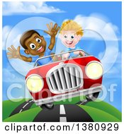 Clipart Of A Happy White Boy Driving A Black Boy And Catching Air In A Convertible Car Royalty Free Vector Illustration