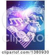 Clipart Of A Background Of Floating Sheet Music Over Blue With Magical Lights Royalty Free Vector Illustration by AtStockIllustration