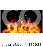 Clipart Of A Background Of Orange Flames On Black Royalty Free Vector Illustration