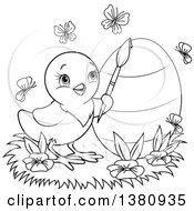 Clipart Of A Black And White Lineart Easter Chick Painting An Egg With Butterflies And Flowers Royalty Free Vector Illustration by Pushkin