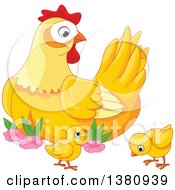 Clipart Of A Cute Mother Hen Watching Her Baby Chicks Royalty Free Vector Illustration