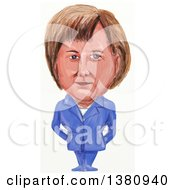 Clipart Of A Watercolor Styled Caricature Of Angela Dorothea Merkel Politician And Germanys First Female Chancellor Royalty Free Illustration