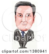 Clipart Of A Watercolor Styled Caricature Of David William Donald Cameron English Politician And Prime Minister Of The United Kingdom Royalty Free Illustration