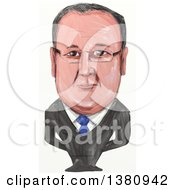 Clipart Of A Watercolor Styled Caricature Of Francois Gerard Georges Nicolas Hollande Politician And President Of France Royalty Free Illustration