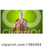Clipart Of A 3d Half Visible Muscle Man On A Green Background Royalty Free Illustration by Julos