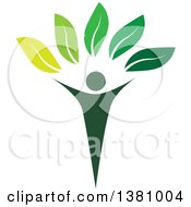 Clipart Of A Green Tree Person Royalty Free Vector Illustration