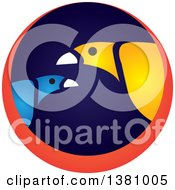 Clipart Of Exotic Birds In A Blue And Orange Circle Royalty Free Vector Illustration