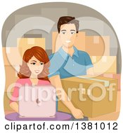 Clipart Of A Happy Young Caucasian Couple Shipping And Working From Their Home Royalty Free Vector Illustration
