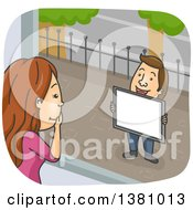 Clipart Of A Cartoon Caucasian Woman Looking Out Of A Window At Her Boyfriend As He Proposes Marriage Royalty Free Vector Illustration