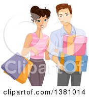 Clipart Of A Happy Young Caucasian Couple Shopping Together Royalty Free Vector Illustration by BNP Design Studio