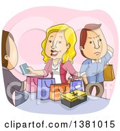 Clipart Of A Cartoon Annoyed Caucasian Husband Waiting As His Wife Shops In A Store Royalty Free Vector Illustration