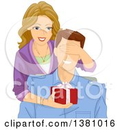 Cartoon Caucasian Woman Covering Her Husbands Eyes While Giving Him A Gift
