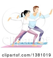 Clipart Of A Caucasian Couple Doing Tai Chi Royalty Free Vector Illustration by BNP Design Studio