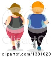 Rear View Of A Chubby Caucasian Couple Working Out Together