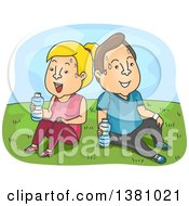 Clipart Of A Cartoon Caucasian Couple Sweating Resting And Drinking Water In A Park After A Work Out Royalty Free Vector Illustration